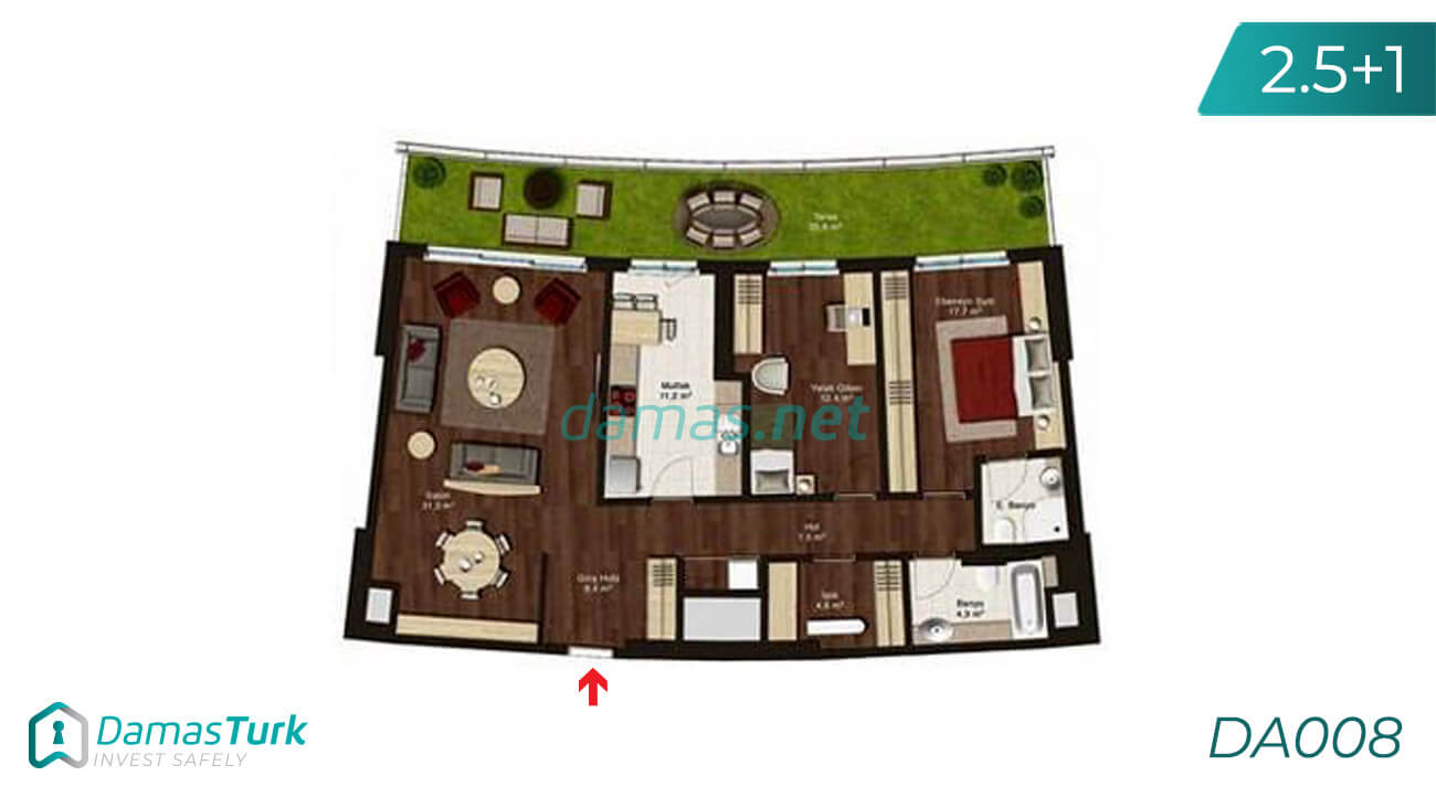 Investment apartment complex with comfortable installment ready to move in with distinctive view in the city of Ankara, Cankaya area DA008 || damas.net 01