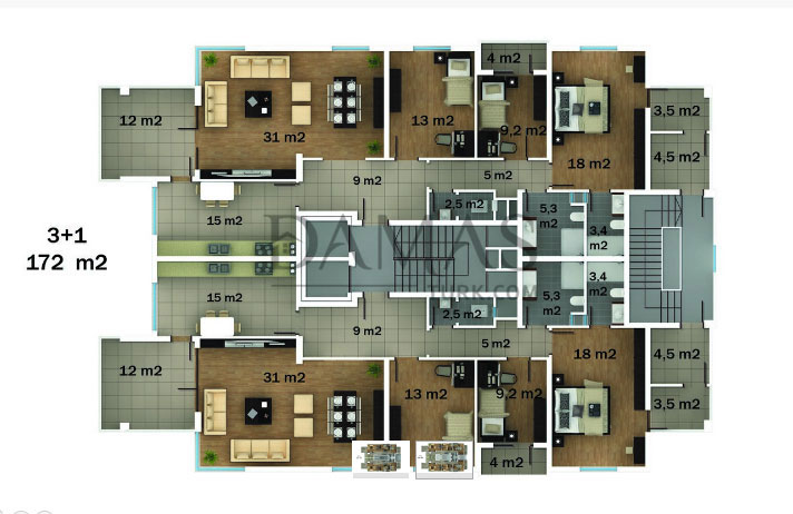 Damas 402 Project in Trabzon - Floor Plan 01