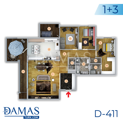 Damas Project D-411 in Trabzon - Floor plan picture 01