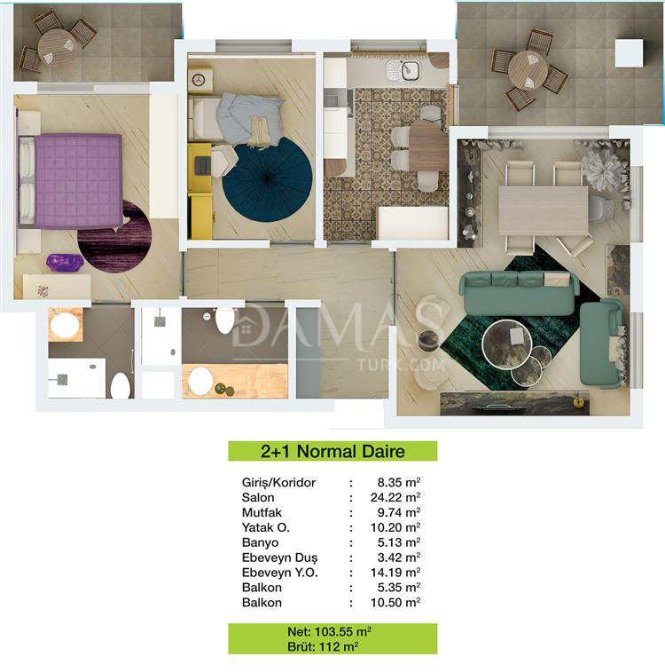 Damas 203 Project in Bursa - Floor Plan 01