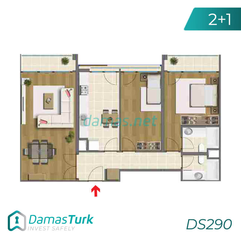 Ready to move apartment complex with green views in Istanbul, Asia DS290 || damas.net 02