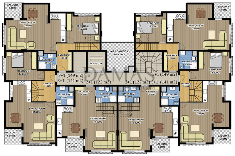 Damas 604 Project in Antalya -  Floor Plan 02