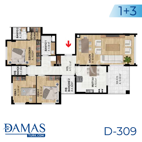 Damas Project D-309 in Bursa - Floor plan picture  02