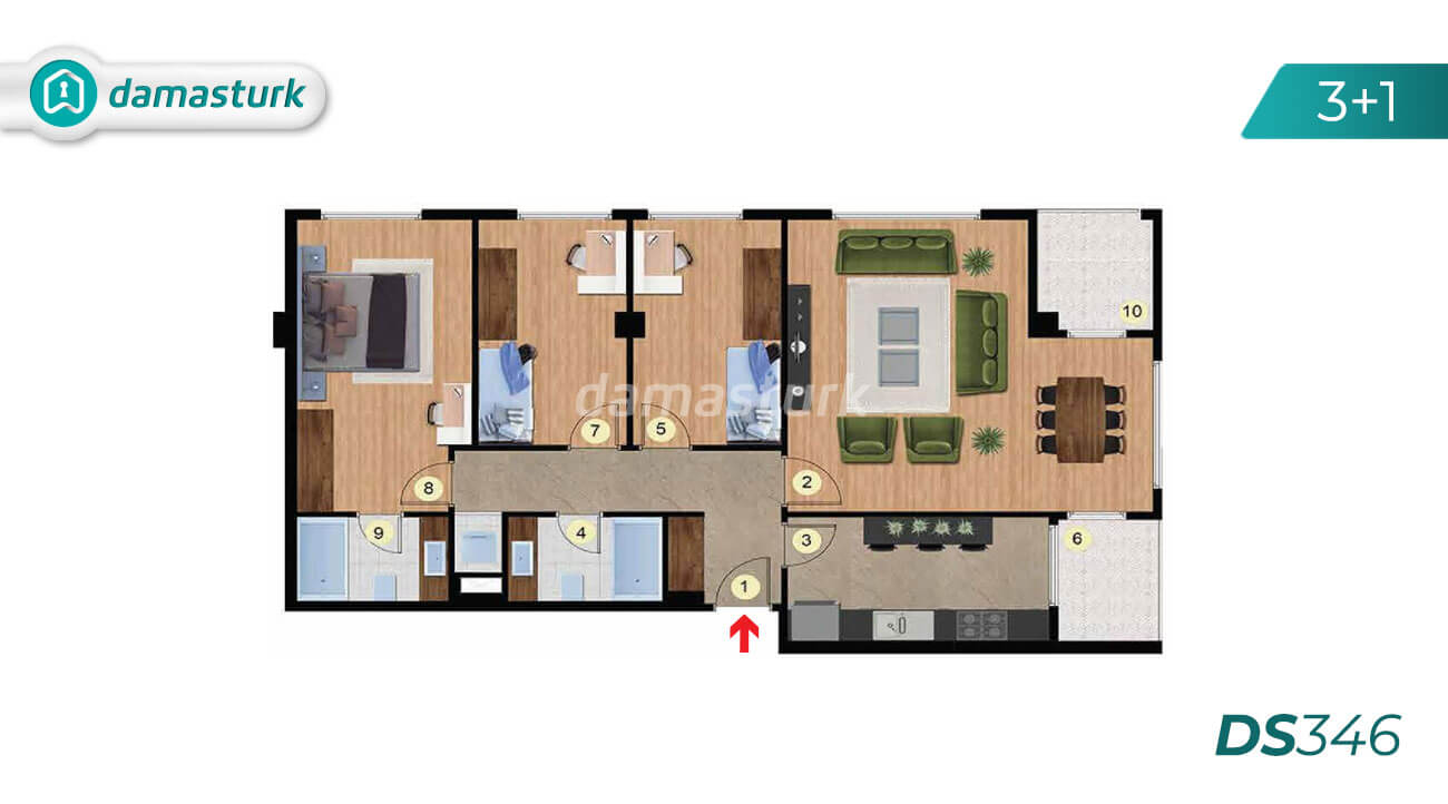 Apartments for sale in Turkey - Istanbul - the complex DS346 || damasturk Real Estate Company 03