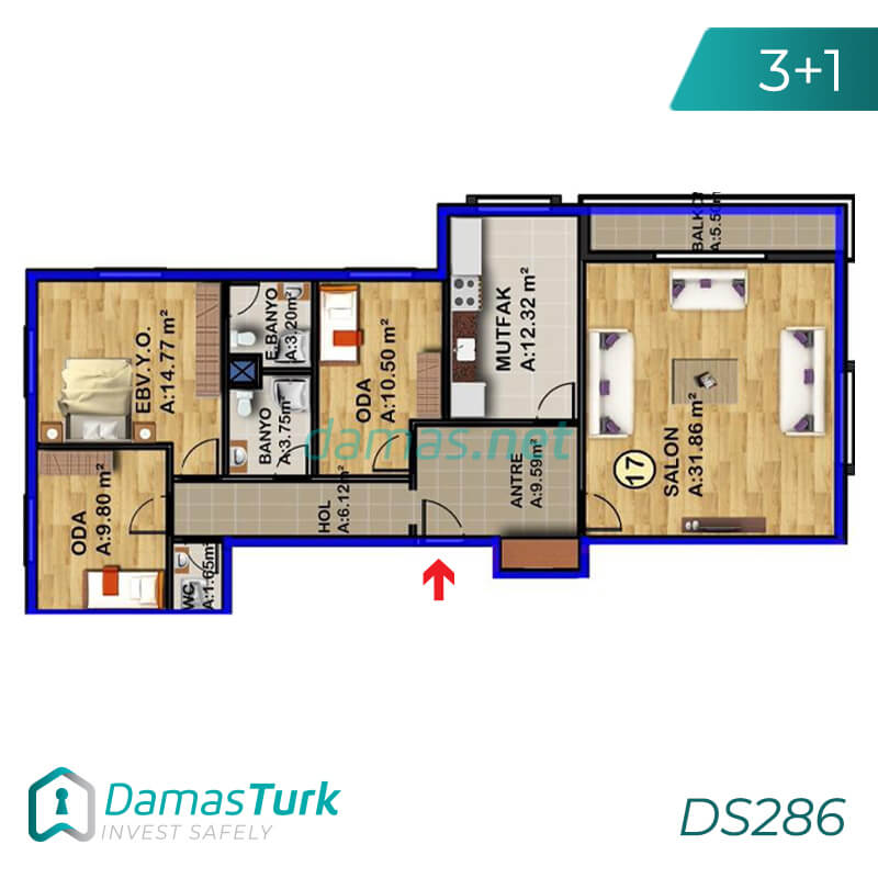 Ready to move apartment complex with sea view, comfortable installment in Istanbul European, Beylikdüzü area DS286 || damas.net 02