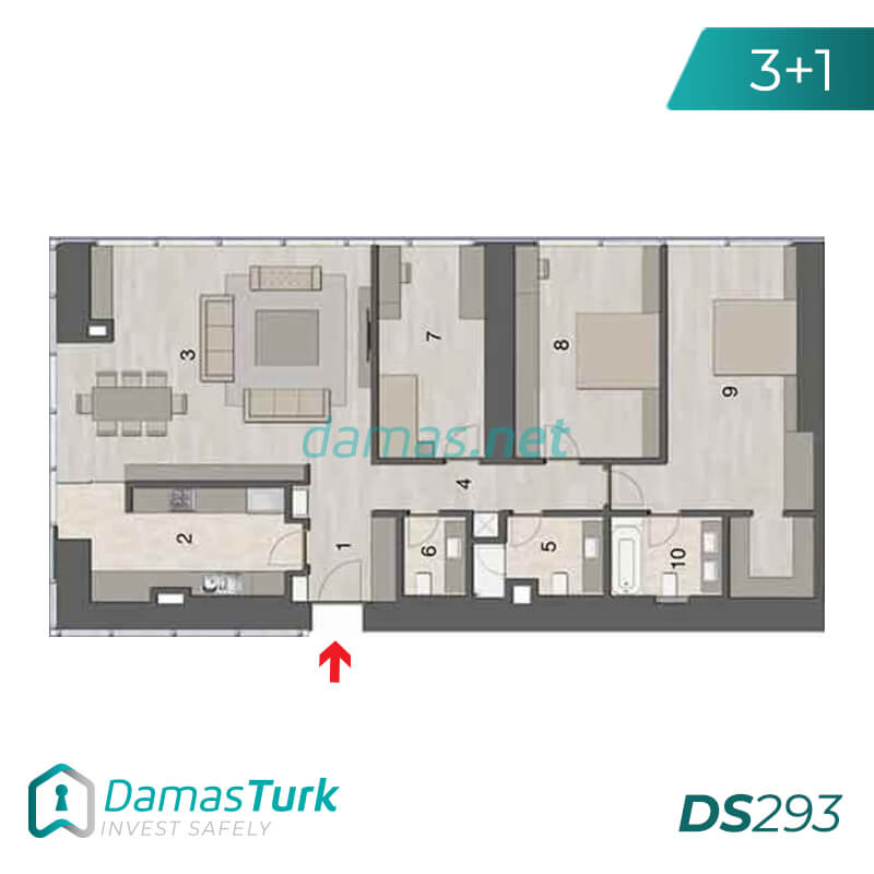 Ready investment apartments complex with a beautiful sea views in istanbul - sisli DS293 || damas.net 03