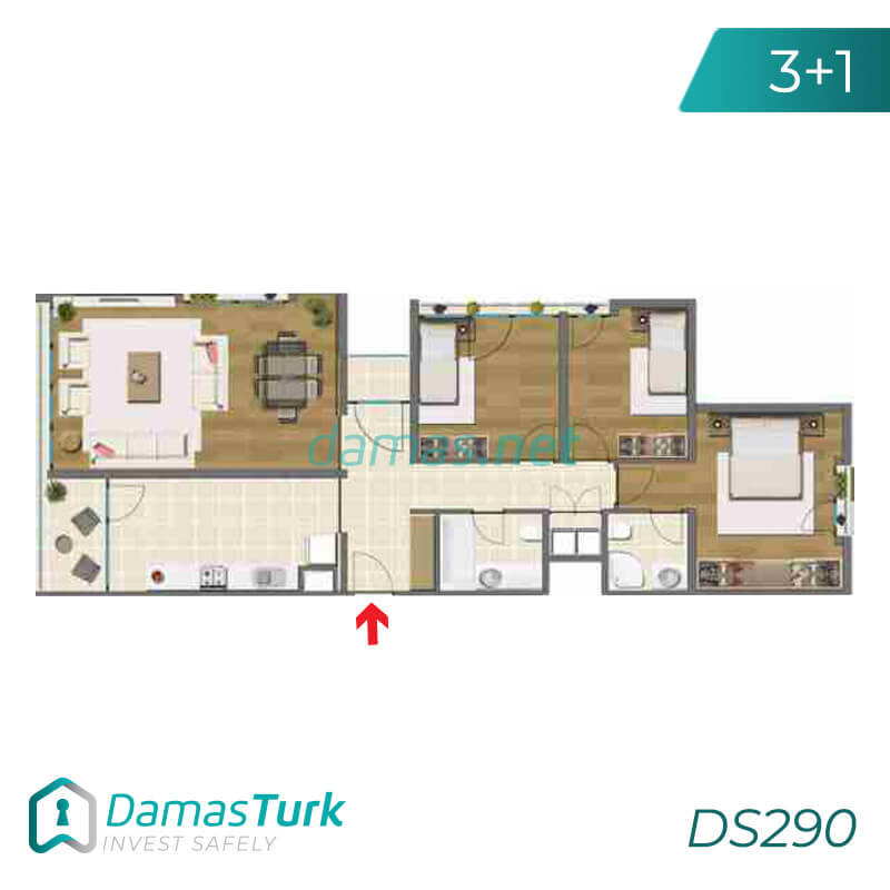 Ready to move apartment complex with green views in Istanbul, Asia DS290 || damas.net 03
