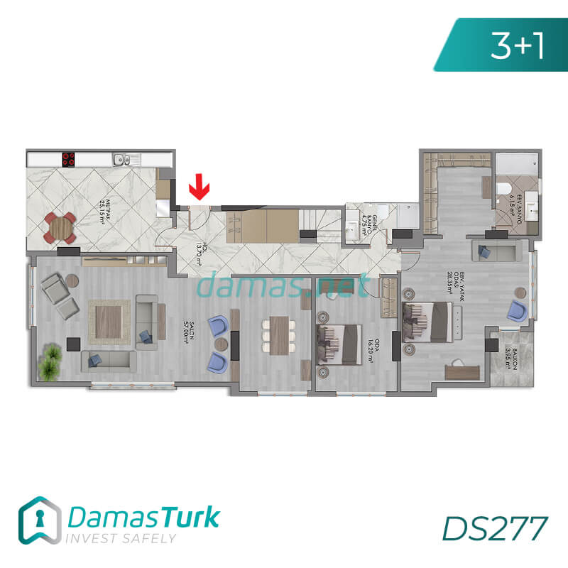 A luxury investment complex ready to live in Istanbul, European Bakirkoy region. DS277 || damas.net 01