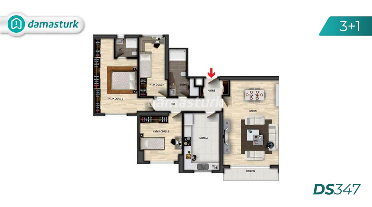 Apartments for sale in Turkey - Istanbul - the complex DS347 || damasturk Real Estate Company 03