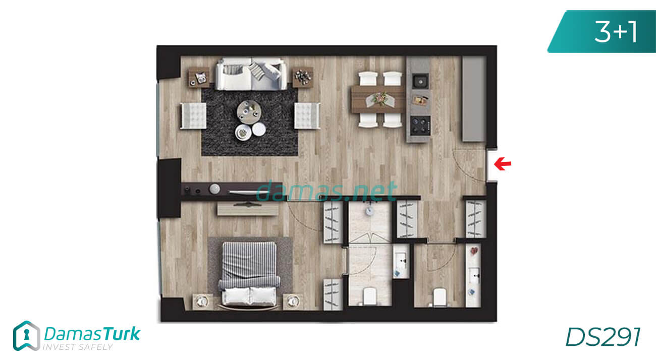 Ready to move apartment complex with fantastic sea view, next to the metro station in Istanbul, Asian Kadikoy region DS291 || damas.net 03