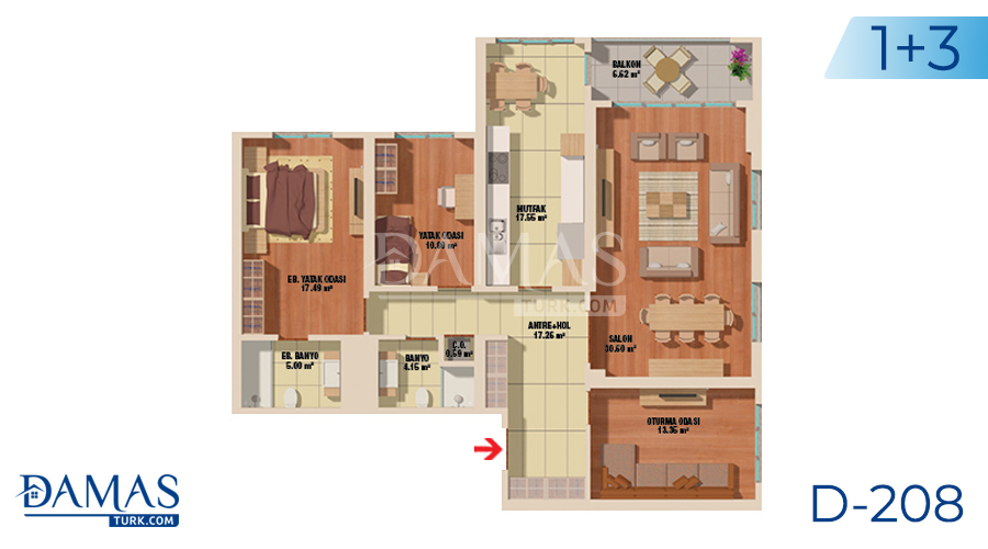 Damas Project D-208 in Istanbul - Floor plan picture  03