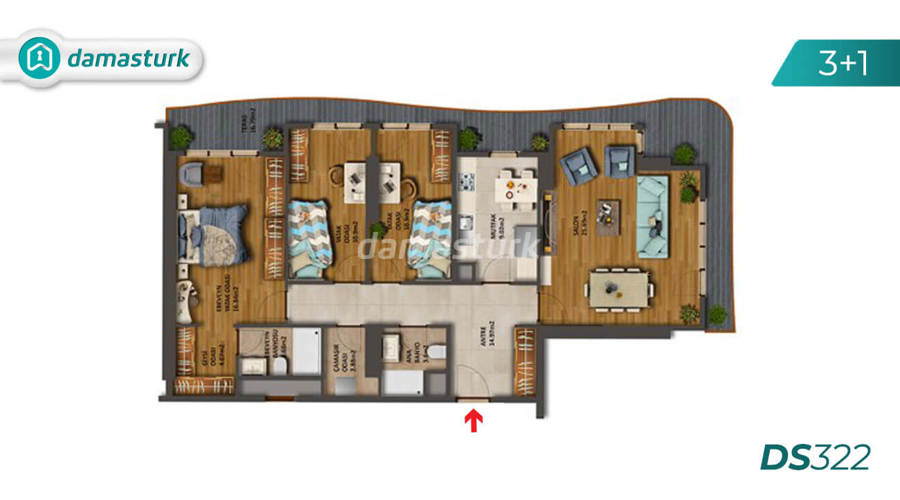Apartments for sale in Turkey - the complex DS322 || damasturk Real Estate Company 03