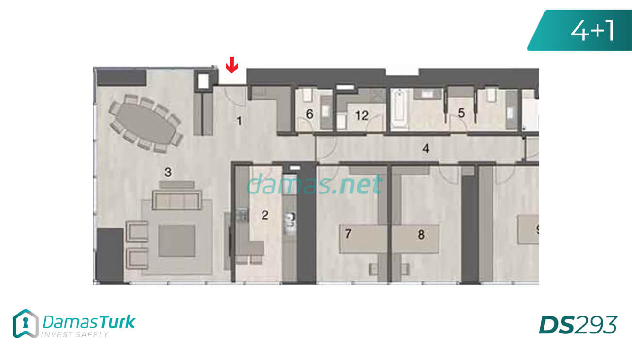 Ready investment apartments complex with a beautiful sea views in istanbul - sisli DS293 || damas.net 04
