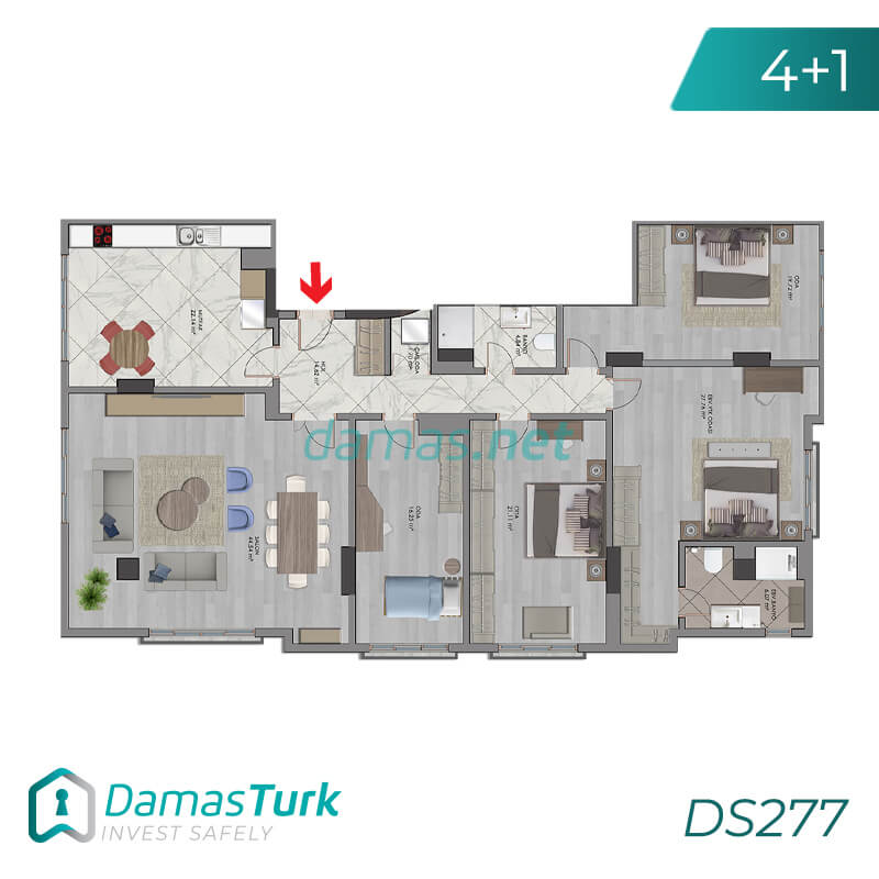 A luxury investment complex ready to live in Istanbul, European Bakirkoy region. DS277 || damas.net 02