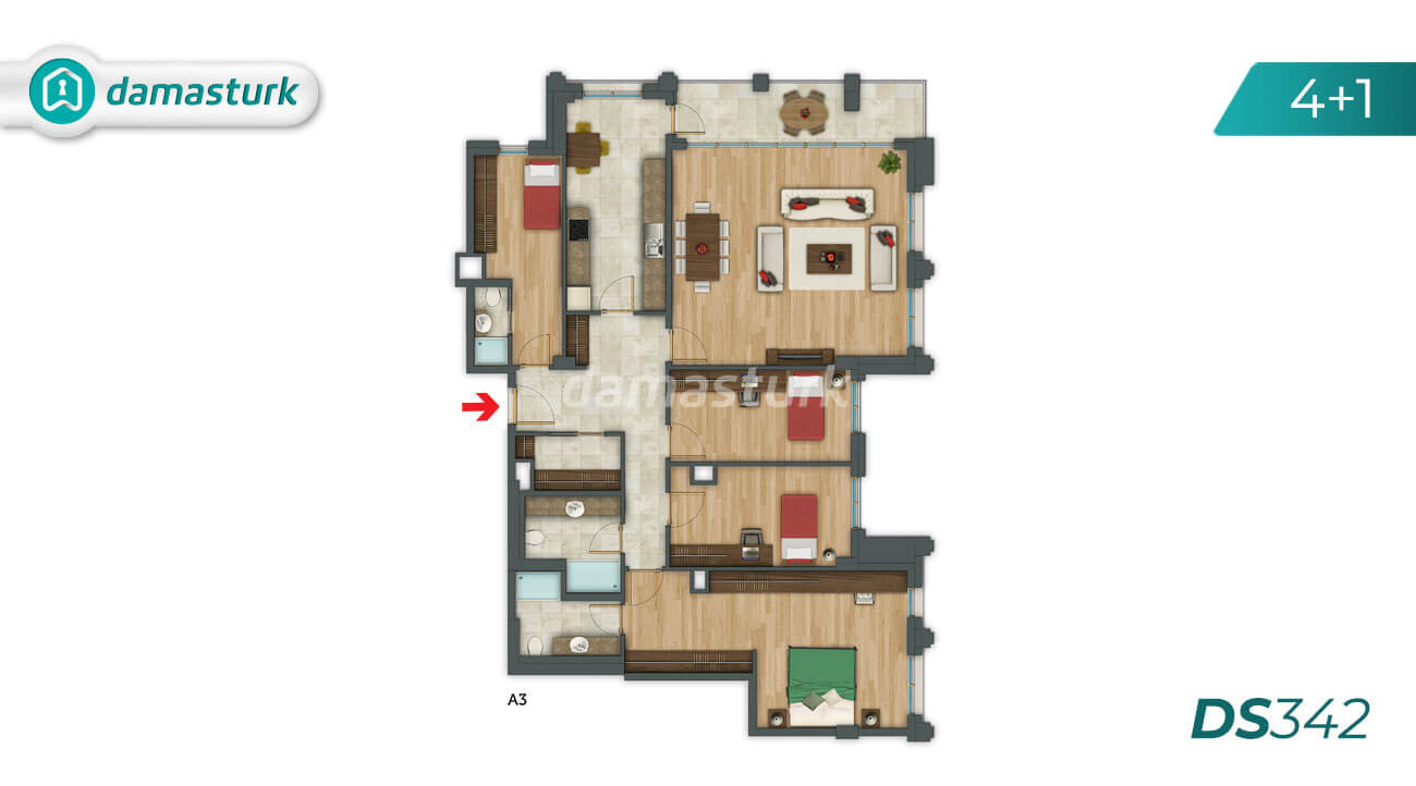 Apartments for sale in Turkey - Istanbul - the complex DS342 || damasturk Real Estate Company 06
