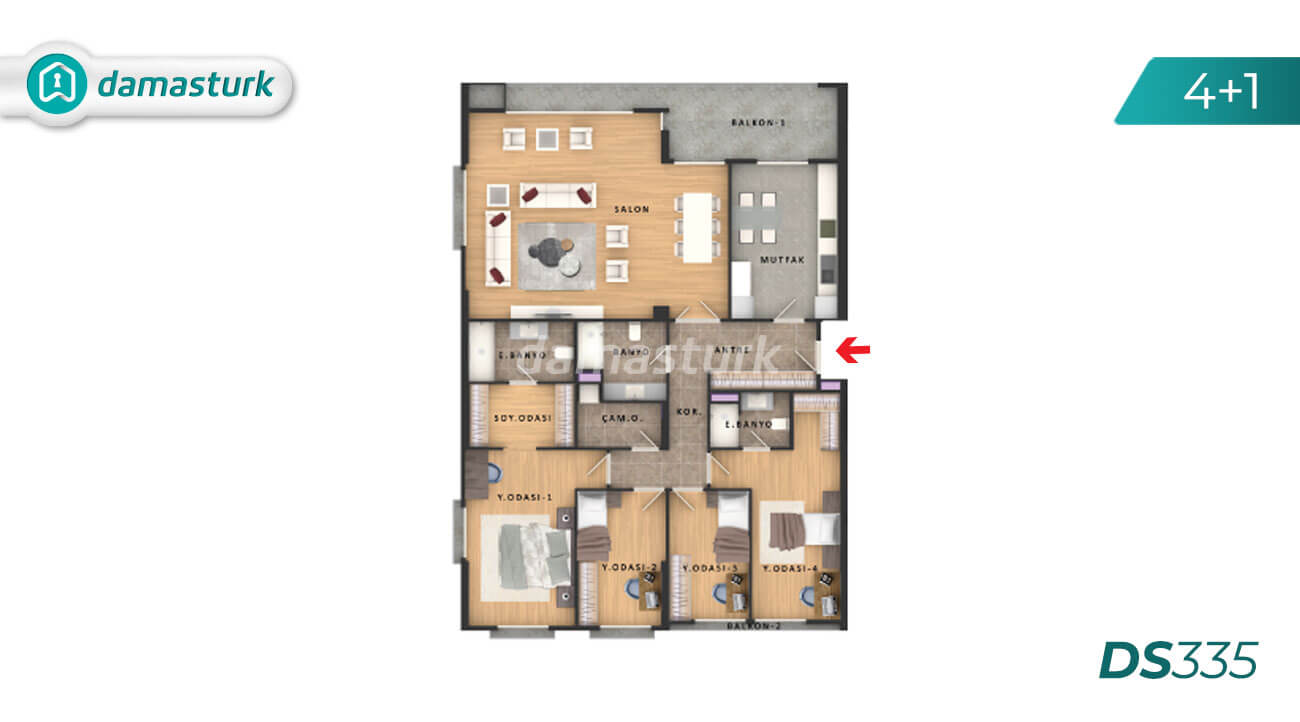 Apartments for sale in Turkey - the complex DS335 || damasturk Real Estate Company 03