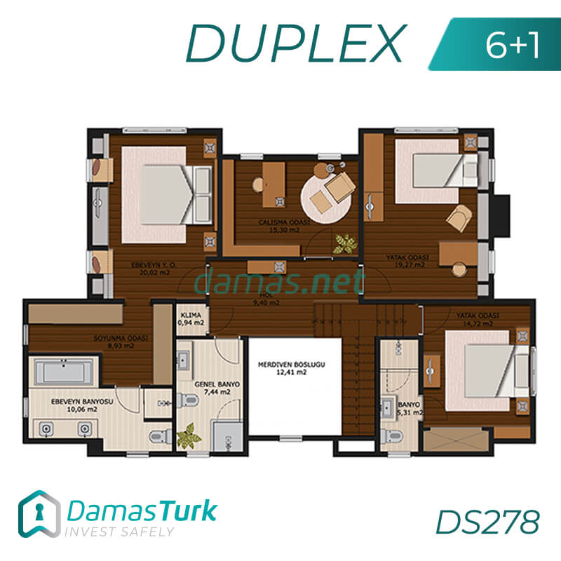 A complex of investment villas ready to live in Istanbul, European Büyükçekmece region. DS278 || damas.net 02