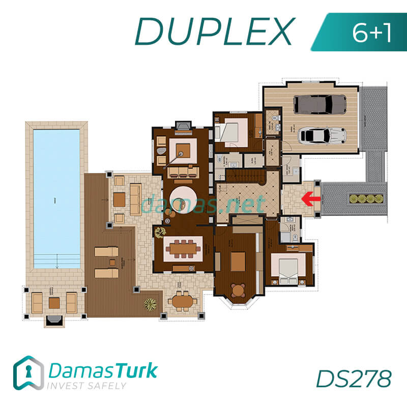 A complex of investment villas ready to live in Istanbul, European Büyükçekmece region. DS278 || damas.net 01