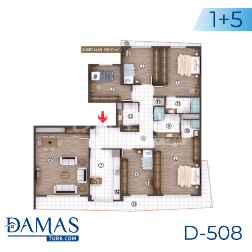 Damas Project D-508 in kocaeli - Floor plan picture 06