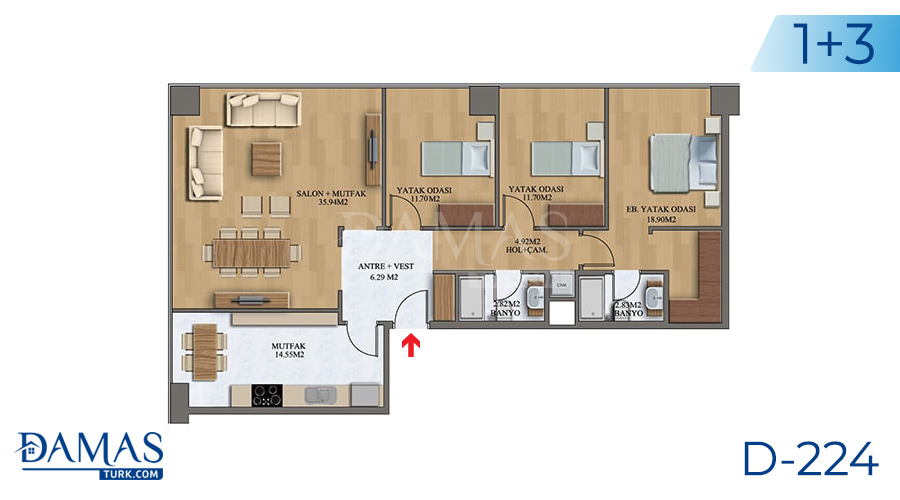 Damas Project D-224 in Istanbul - Floor plan picture  07